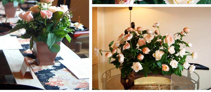 しっとりと落ち着いたパーティーウェディング サーモンピンクのバラを使って0102